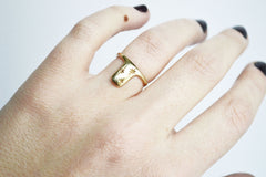 Gold starry night sky ring