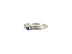 Silver Palm Ring with Blue Sapphire