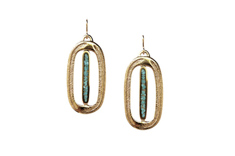 Paradise Palm Earrings with Inlay