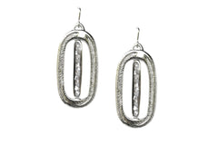 Silver Mother of Pearl Palm Earrings
