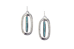 Silver and Turquoise Palm Earrings