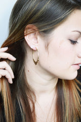 Gold Hoop Earrings on model