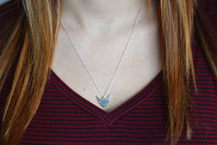 Thin silver pendant necklace