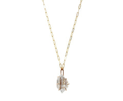 Gold Quartz Crystal Necklace