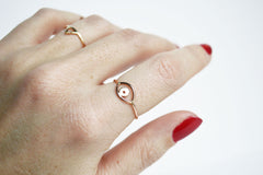 Thin Rose Gold Evil Eye Ring