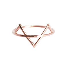 thin rose gold ring with three spikes