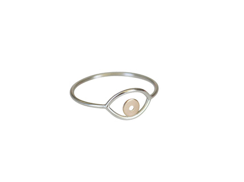 Silver & Gold Evil Eye Ring