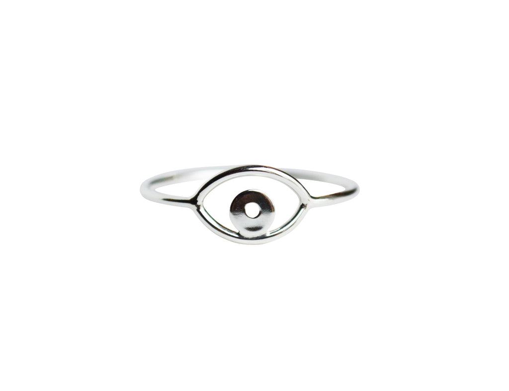 Thin Silver Evil Eye Ring