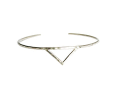 Thin Silver Cuff Bracelet with Triangle