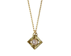 Gold Pendant Necklace with Pink Quartz