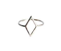 Thin Silver Diamond Shape Ring