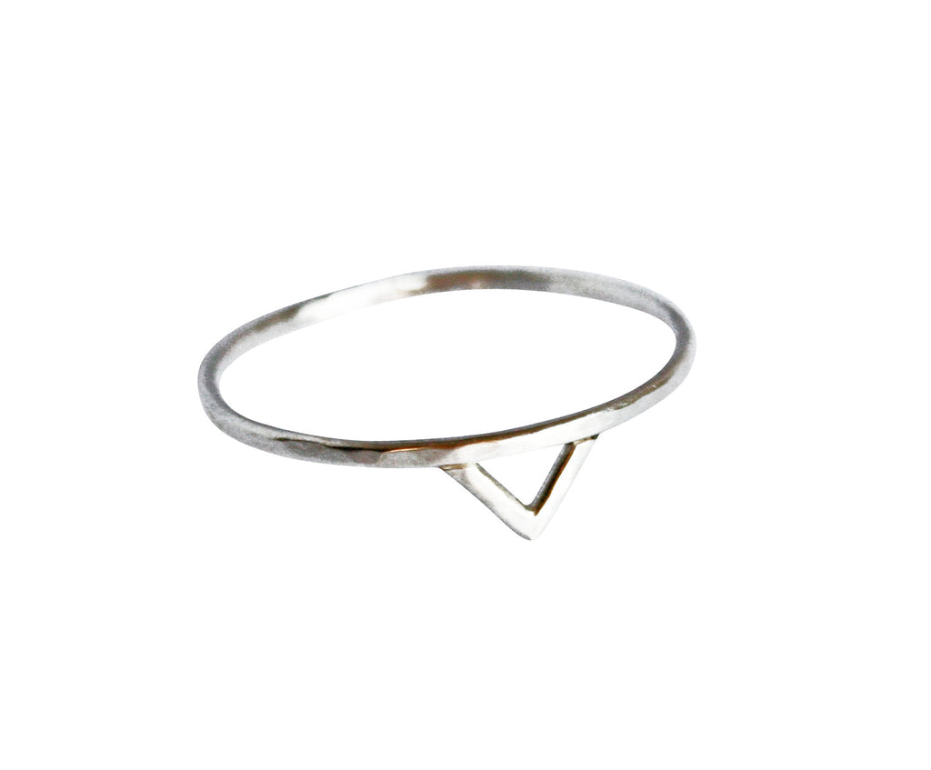 Thin Silver Triangle Ring