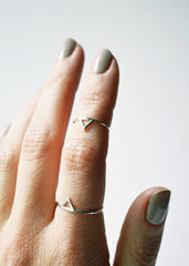 Thin Silver Spike Rings