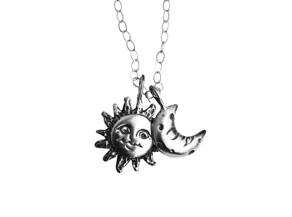 Silver Sun and Moon Charm Necklace