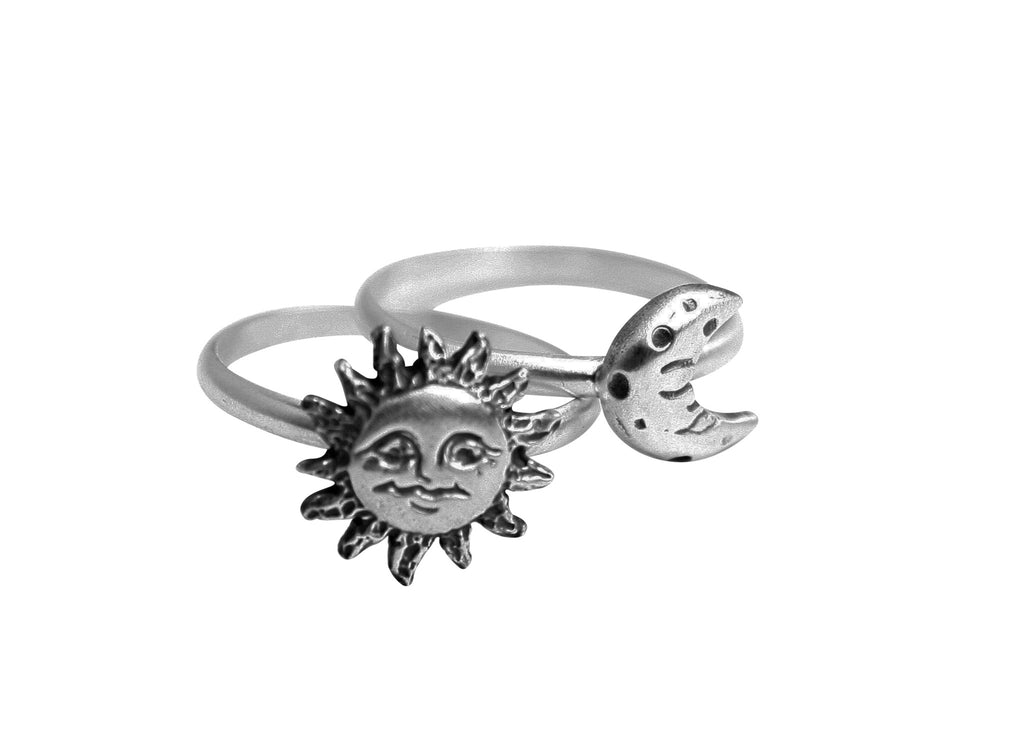 Silver Sun and Moon Stacking Rings