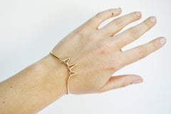 Gold Three Spike Cuff Bracelet