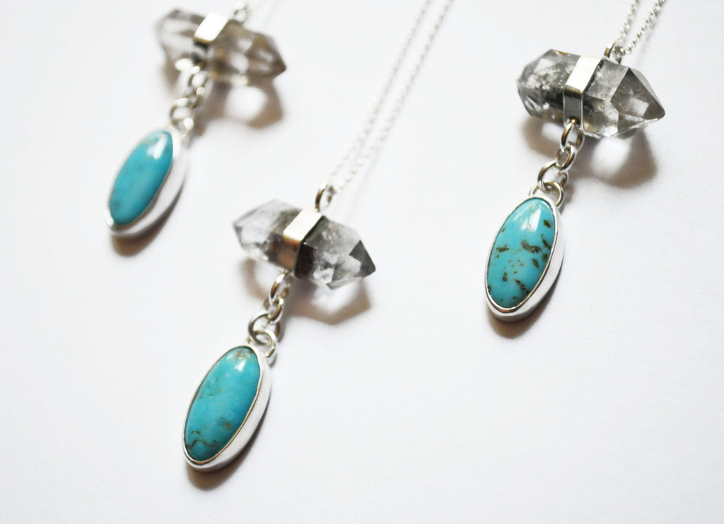 Crystal Quartz and Turquoise Necklace