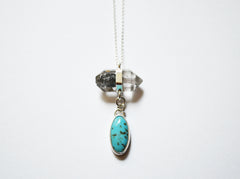 Silver Crystal Quartz and Turquoise Necklace