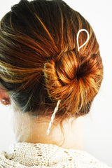 Gold Twist Hair Stick in Hair Bun