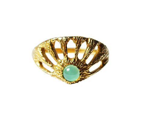 Window Ring with Chrysoprase