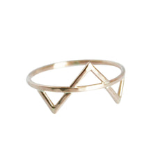 thin gold ring with three triangles
