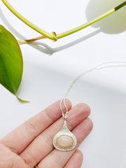 Drip Pendant Necklace w/ Peach Moonstone