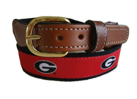 University of Georgia UGA ribbon belt with cotton Web with Leather Belt ends. A Georgia bulldogs belt licensed product.