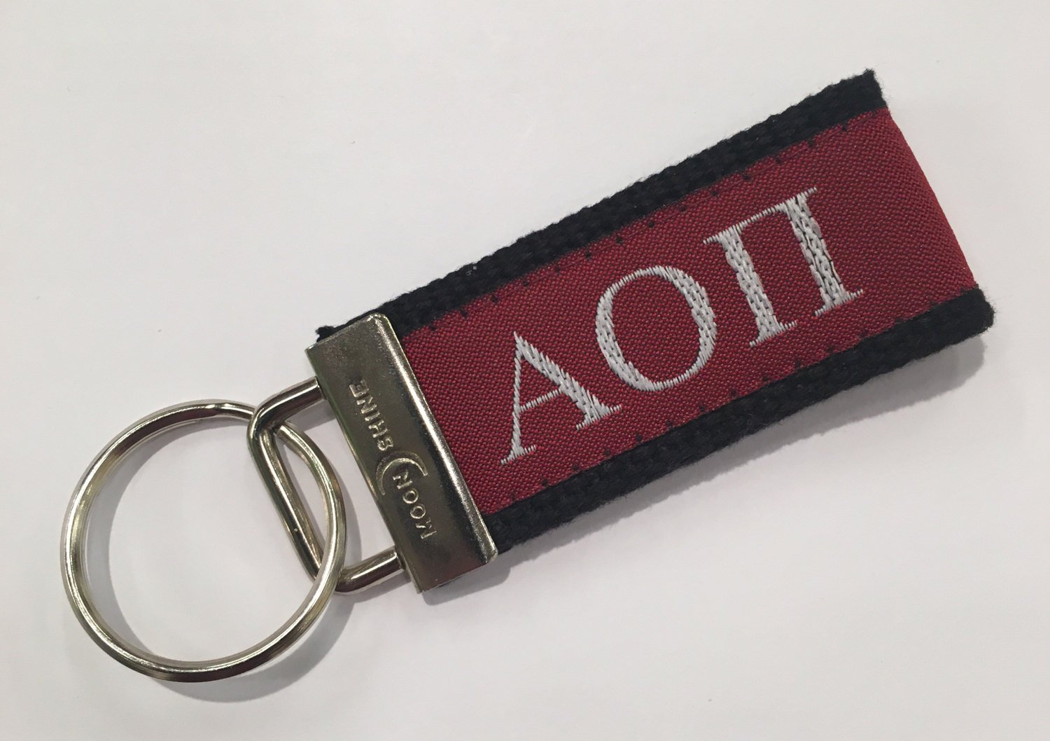 Greek Letter Alpha Omicron Pi Sorority Web Key Chain Fob.  Officially Licensed Greek Accessories.