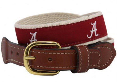 Alabama ribbon belt with Script A woven logo on cotton webbing with  Leather Belt ends. Men's belt licensed.