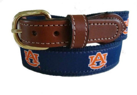 Auburn University Men's  Web Leather Belt