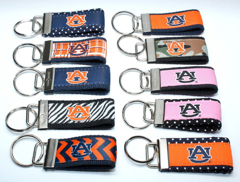 Auburn University web keychain fob. Licensed Auburn key chain