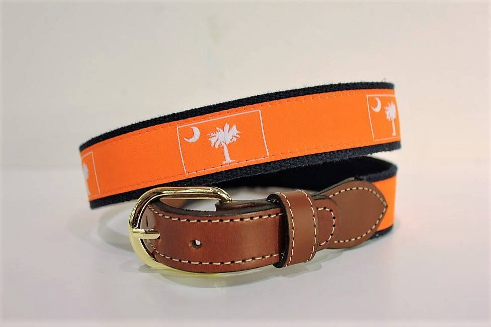 South Carolina State Flag Palmetto Tree and Moon  Men's  Web Leather Belt. Many colors and designs.