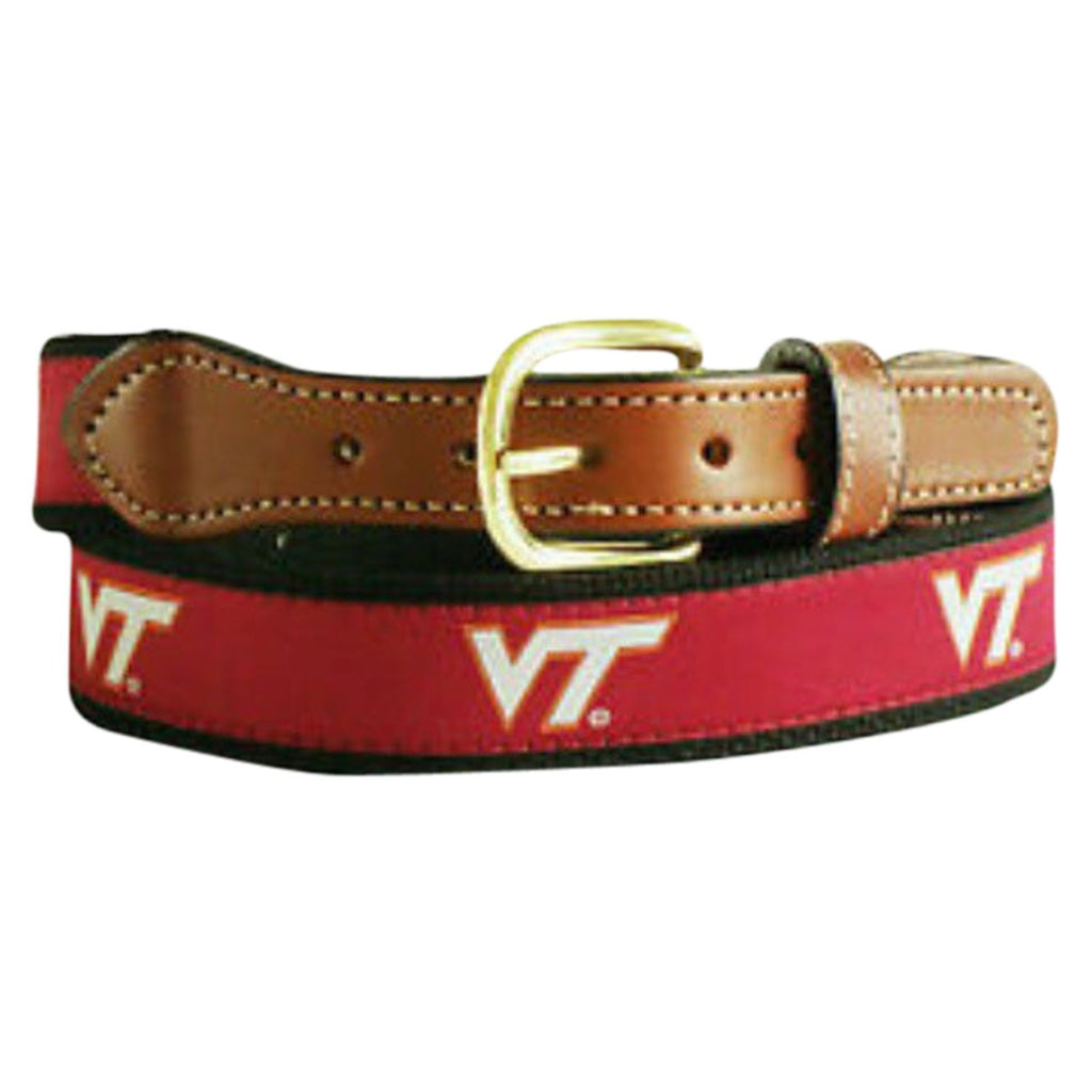 University of Virginia Tec Men's  Web Leather Belt