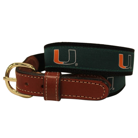 University of Miami Hurricanes  Web Leather Belt