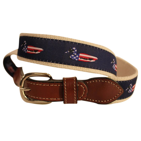 USA Mallard Duckl  men's Web Leather Belt