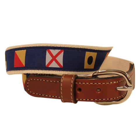Coastal Nautical Flag ribbon on Cotton Web Leather Belt