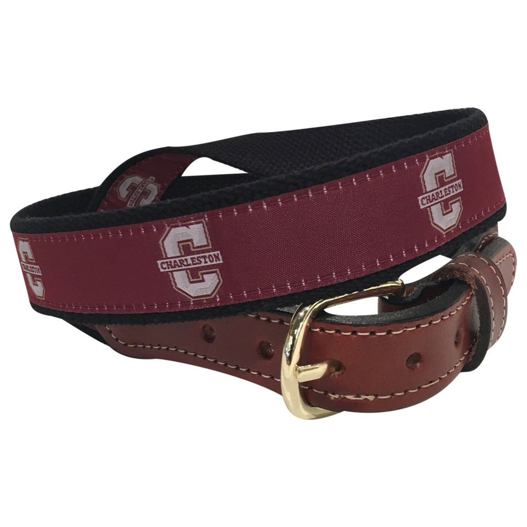 College of Charleston Men's  Web Leather Belt
