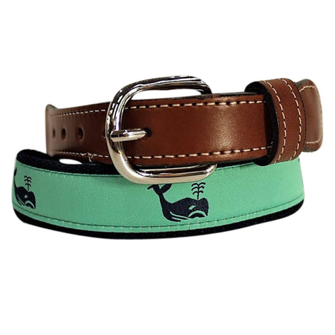 Whale of a Belt-  Web Leather Belt