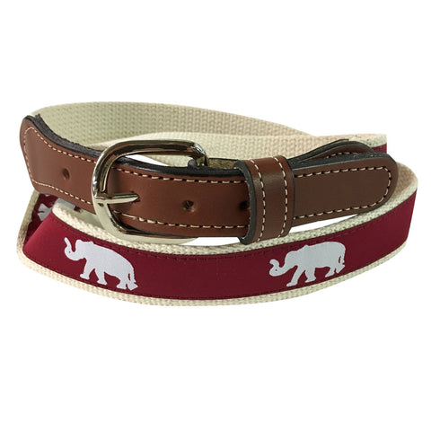University of Alabama Elephant web Leather Belt