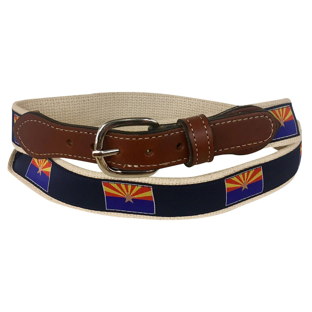 State Flag of Arizonia Men's  Web Leather Belt