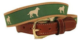 Yellow Lab Dog ribbon Cotton Web Leather Belt