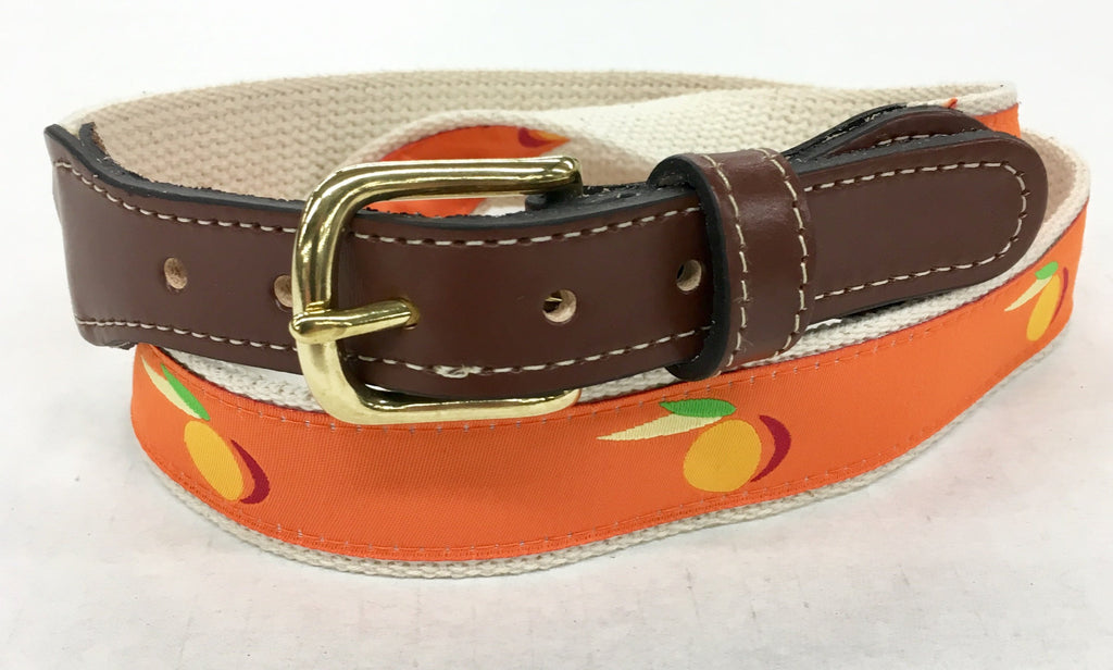 Georgia Peach woven Men's  Web Leather Belt