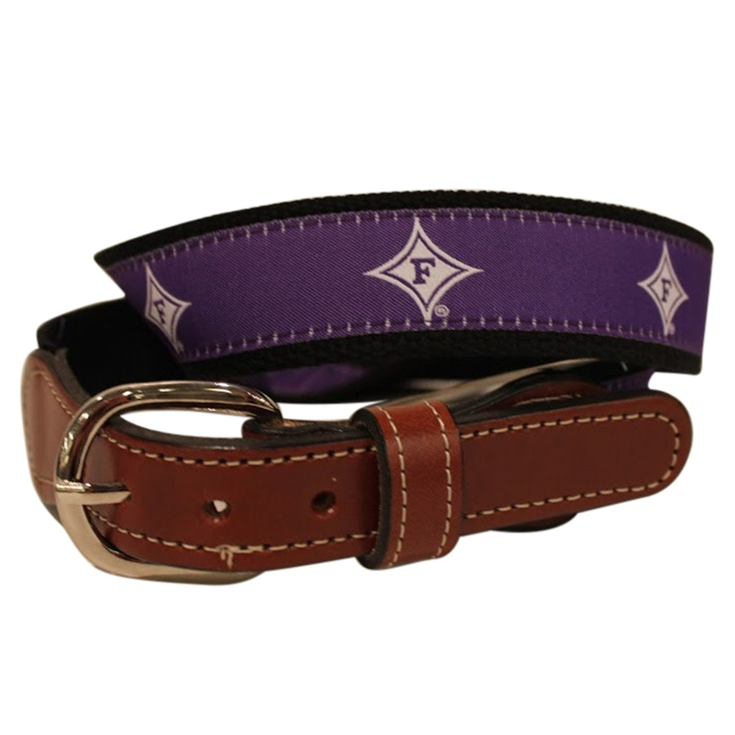 Furman University woven ribbon on  Men's Cotton Web Leather Belt