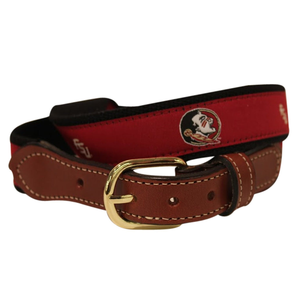 Florida State Men's  Web Leather Belt