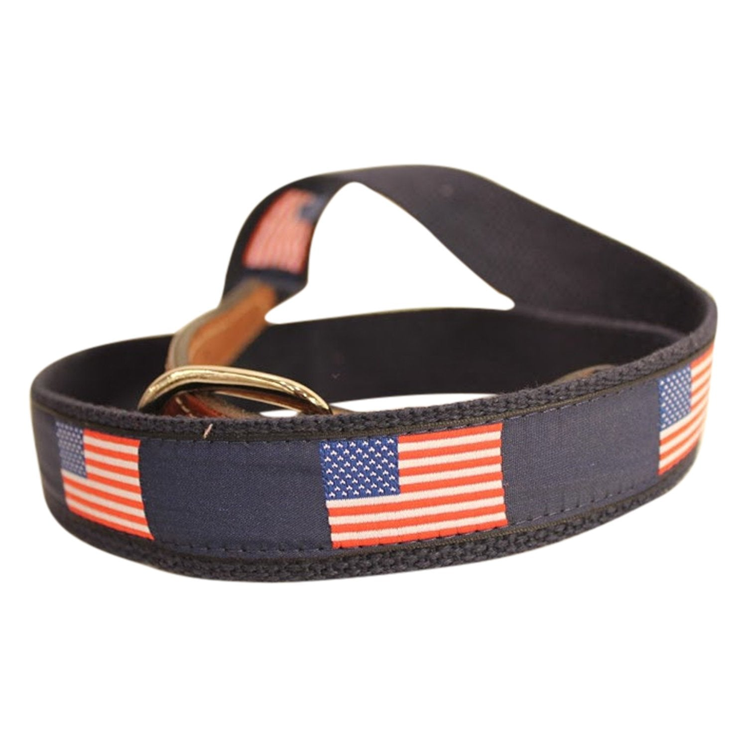USA Flag American Flag Men's  Web Leather Belt