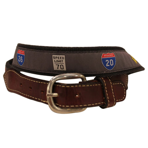 Highway Signs  Web Leather Belt