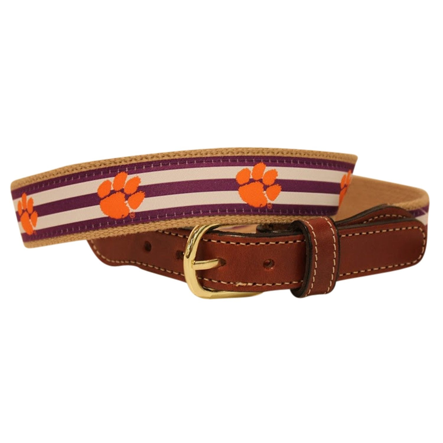 Clemson Tigers Woven Ribbon Cotton Web Leather Belt