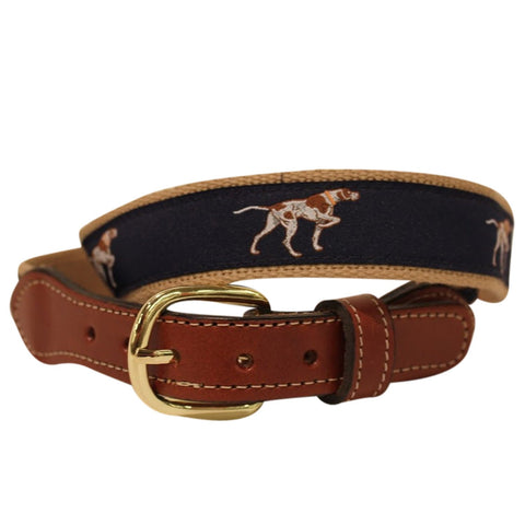 Pointer Dog  Belt-  Web Leather Belt