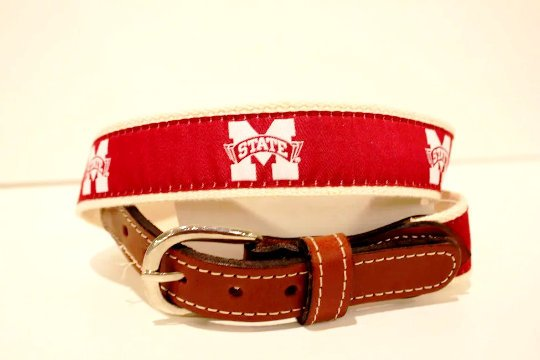 Mississippi State University Men's  Web Leather Belt