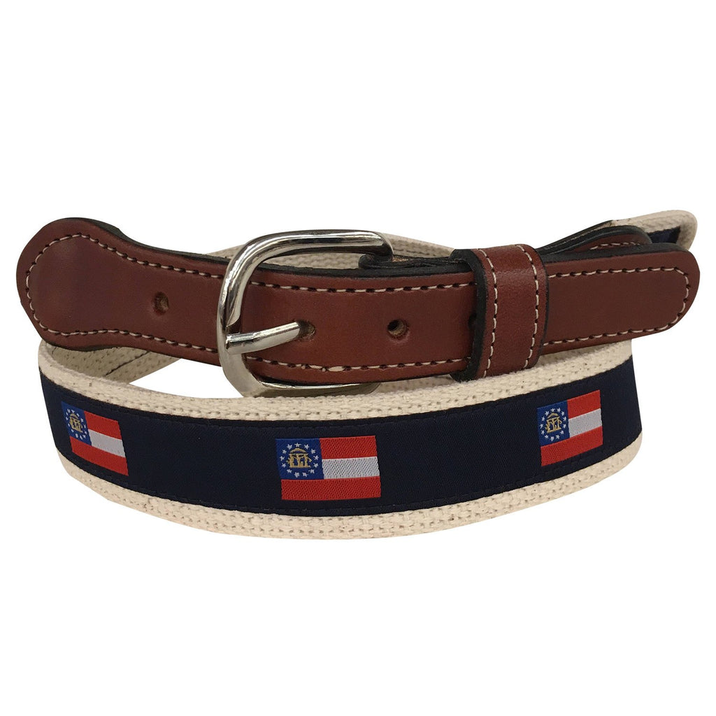 State of Georgia Flag Men's  Web Leather Belt
